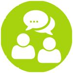 Grafik grüner Kreis, innen weisse Symbole von Personen und Sprechblasen
