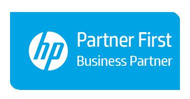 Logo HP Partner First Business Partner blau, weiße Schrift