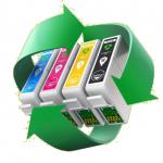 Recycling Symbol drei grüne Pfeile mit Patronen