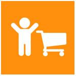 Grafik oranger Kreis, Symbol Person und Einkaufswagen