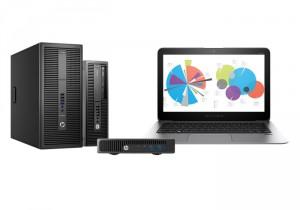 Abbildung drei verschieden großer Computer und Notebook