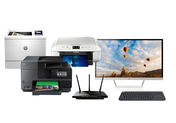 Abbildung verschiedene Drucker und Monitor