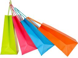 vier Einkaufstüten aus Papier seitlich in grün, pink, hellblau und orange