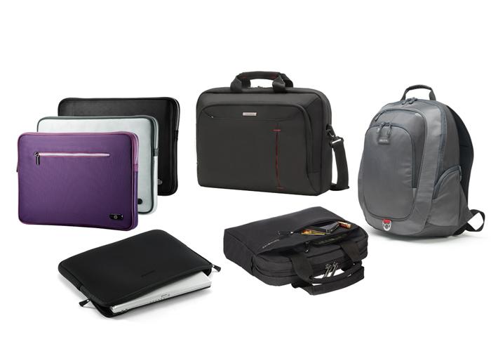 Abbildung verschiedener Hüllen, Taschen und eines Rucksacks für Notebooks