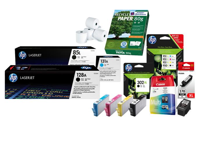 Abbildung Verbrauchsmaterial, Tinten und Toner und Papier