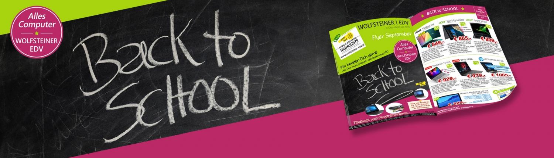 Banner mit Logo und Tafel in Kreidenschrift Back to school und Foto des neuen Flugblattes