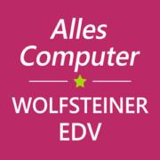 magentafarbenes Quadrat mit weißer Schrift Alles Computer | Wolfsteiner-EDV und grünem Stern