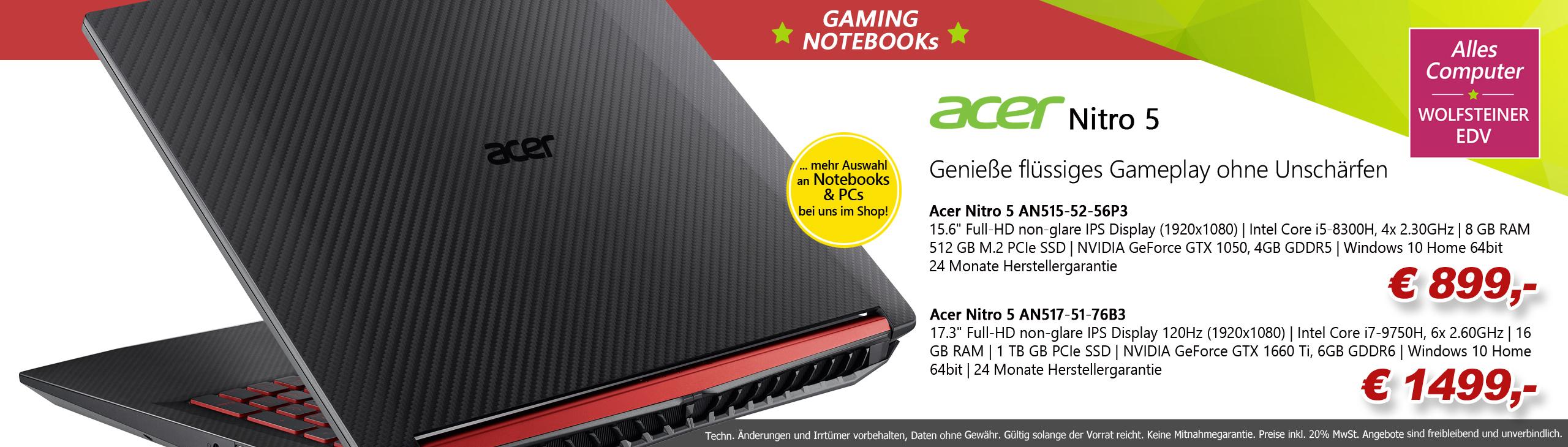 Banner Acer Nitro 5 Gaming Notebooks