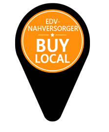 EDV Nahversorger - Bay local Grafik schwarz mit orangem Kreis