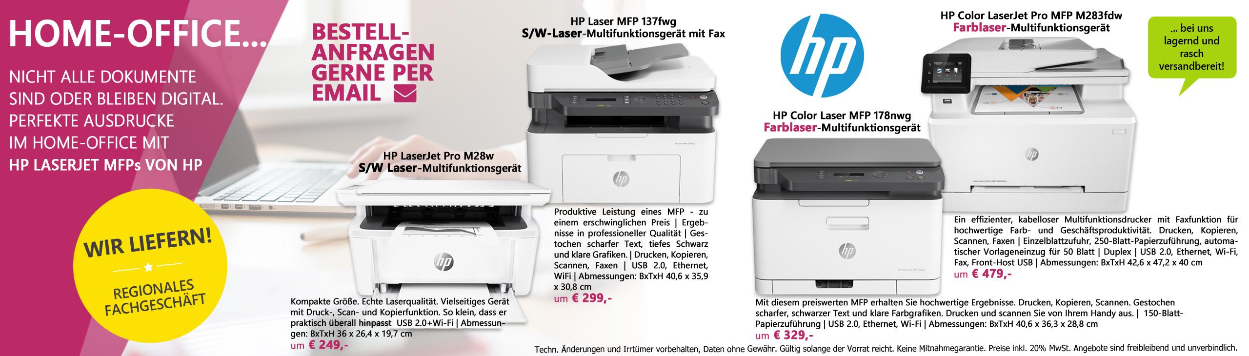 Banner homeoffice verschiedene hp laserdrucker