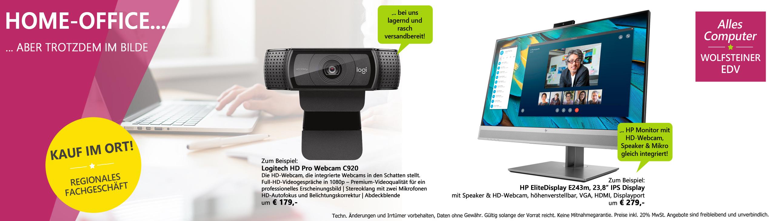 Banner homeoffice imbilde mit webcam und monitor