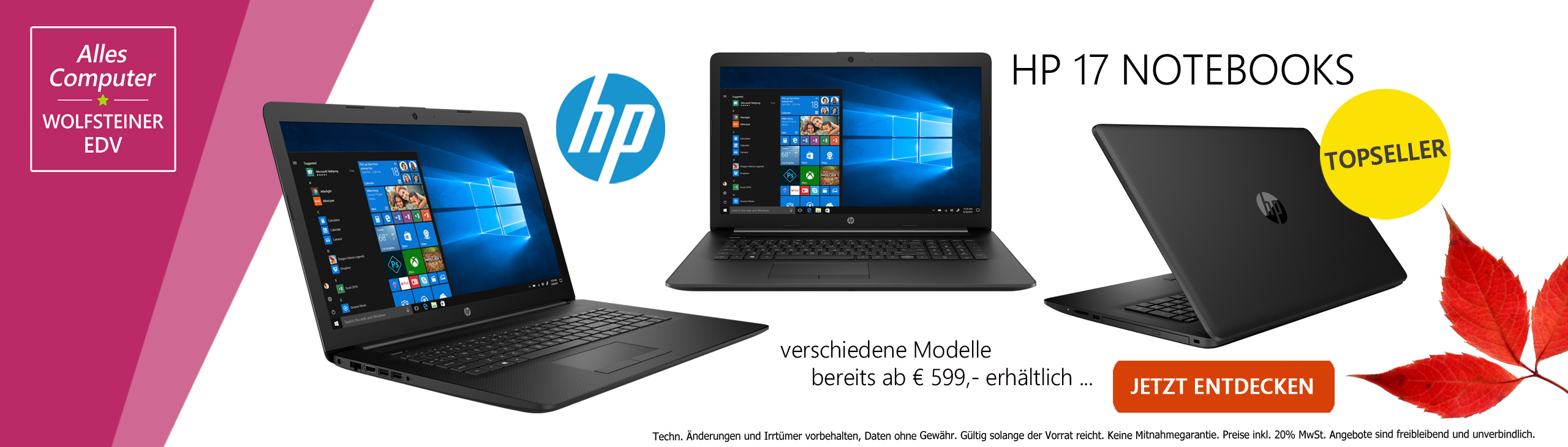 Banner HP 17-by Notebook Modelle