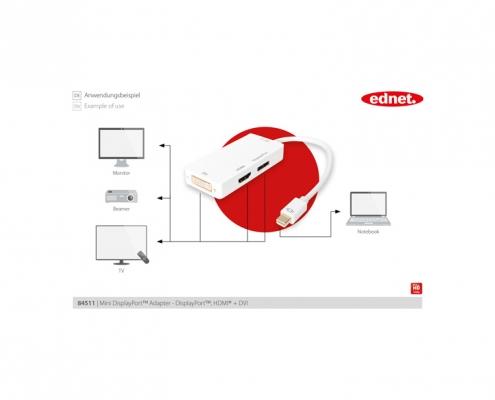 ednet Adapter 3in1 mini Displayport - DP HDMI DVI ED-84511