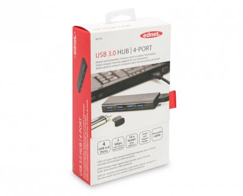 ednet USB 3.0 Hub 4-Port -Boxshot