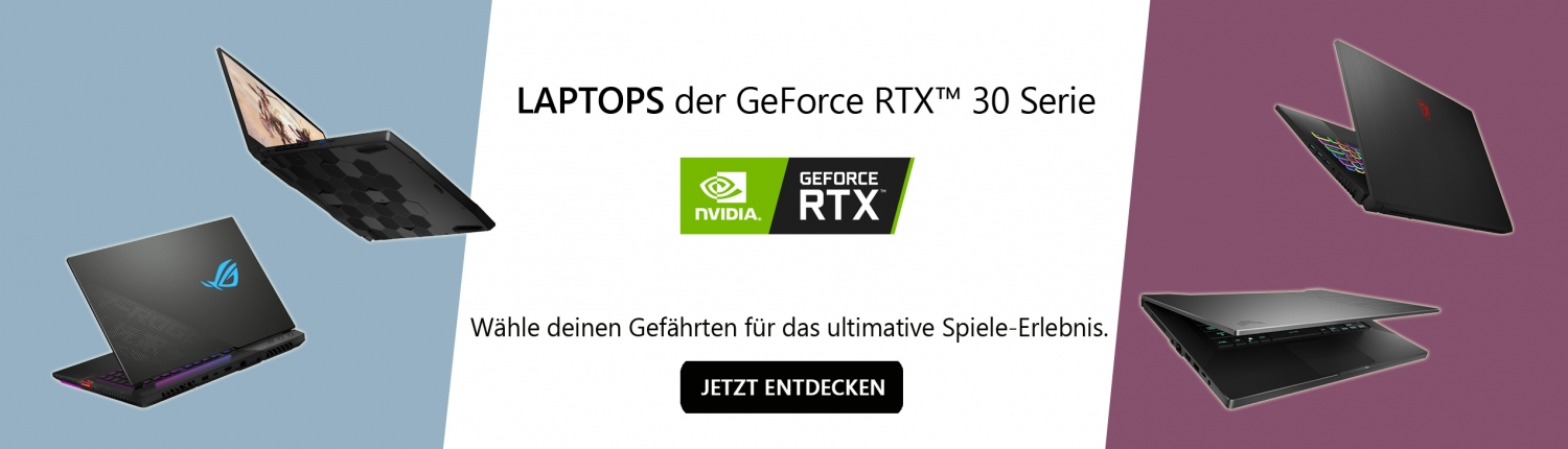 Banner Gaming Notebooks mit Nvidia GeForce RTX 30 Serie