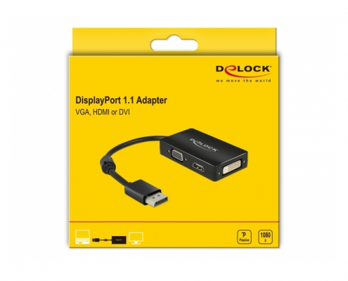 Delock 62656 Displayport Adapter auf VGA HDMI DVI -Boxshot