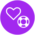 Grafik lila Kreis, weisses Symbol Herz daneben weisser Rettungsring